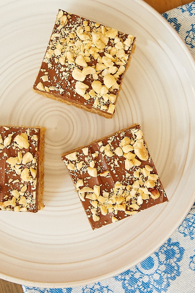 slices of Chocolate Peanut Butter Crispy Treats
