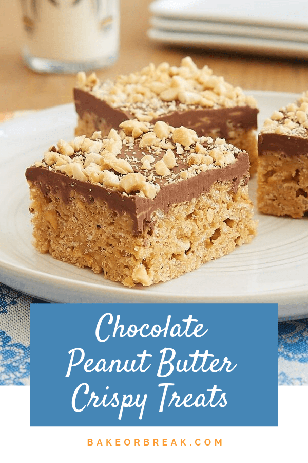 Honey stands in for marshmallows in these irresistible Chocolate Peanut Butter Crispy Treats. - Bake or Break #crispytreats #chocolate #peanutbutter