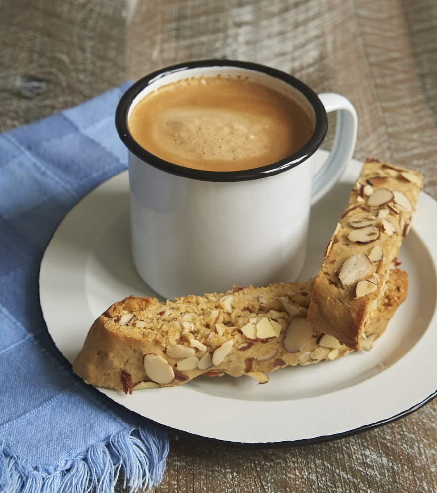 Almond Biscotti served alongside a cup of coffee