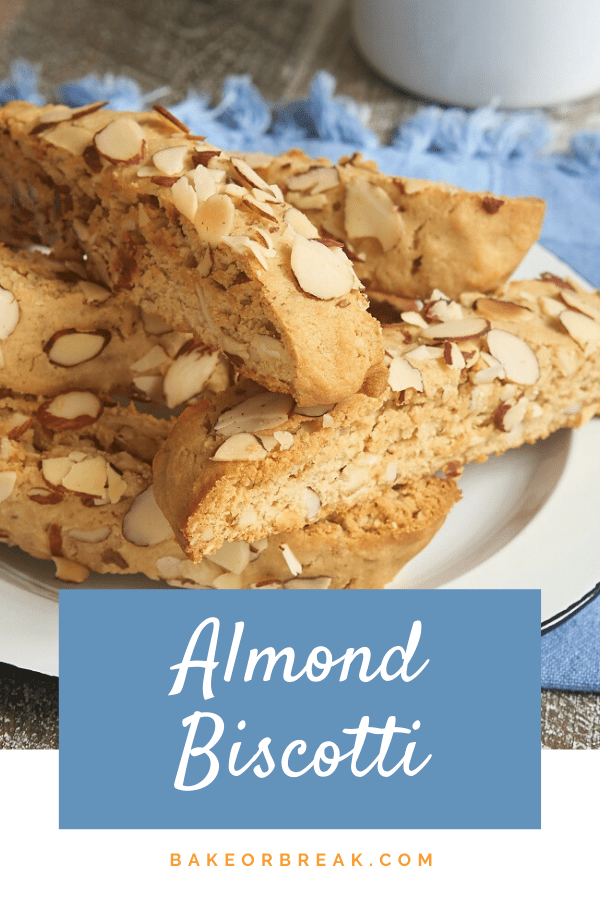 Almond Biscotti are packed with plenty of brown sugar and almonds. Such a great companion for your coffee or tea! - Bake or Break #cookies #biscotti #almonds
