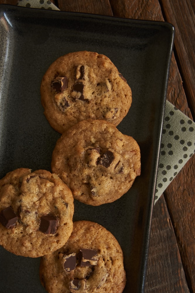 Bourbon Pecan Chocolate Chip Cookies are grown-up cookies! Such great flavors in a soft, chewy cookie! - Bake or Break