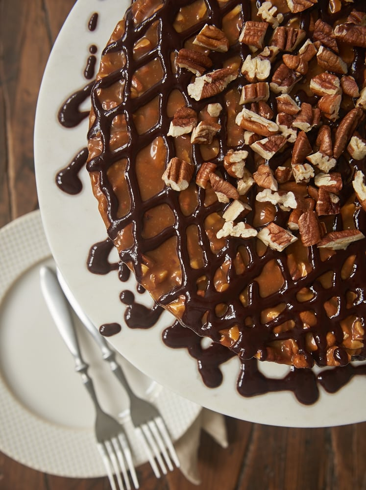 Caramel Pecan Brownie Cake is perfectly rich, gooey, nutty, and mouthwatering! - Bake or Break