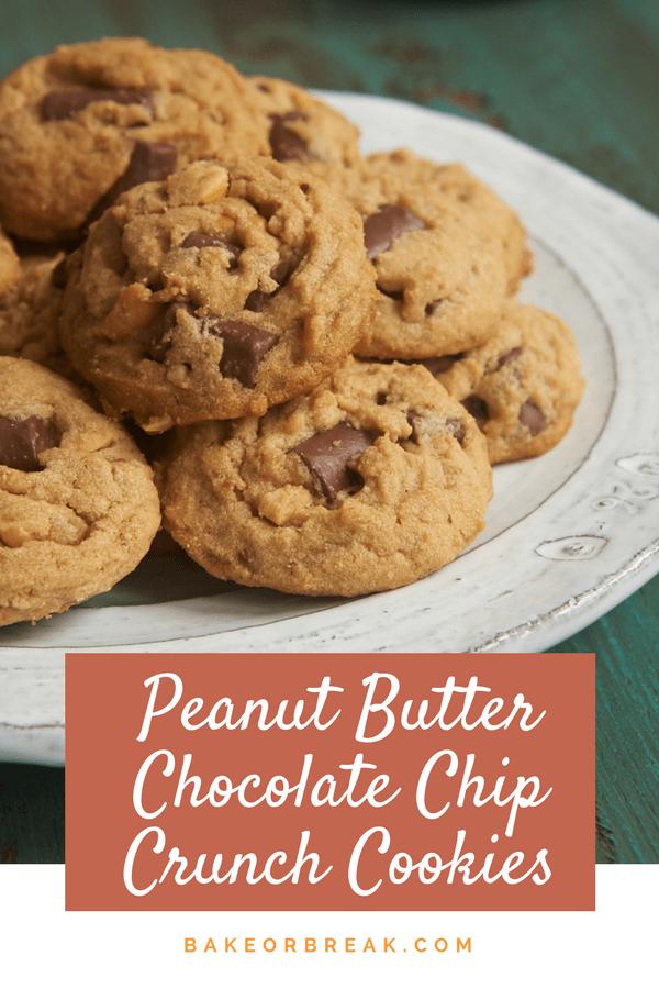 Peanut Butter Chocolate Chip Crunch Cookies bakeorbreak.com