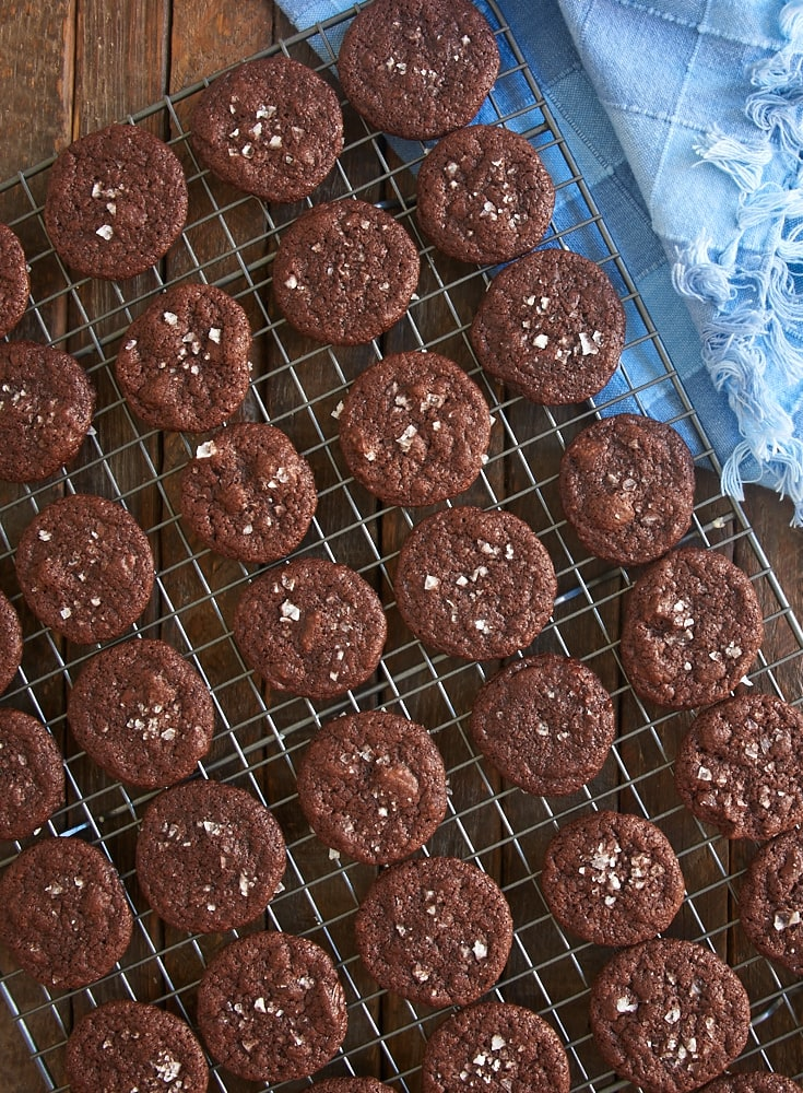 Salted Double Chocolate Cookies cooling on a wire rack