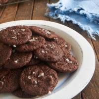 Salted Double Chocolate Cookies on a white plate