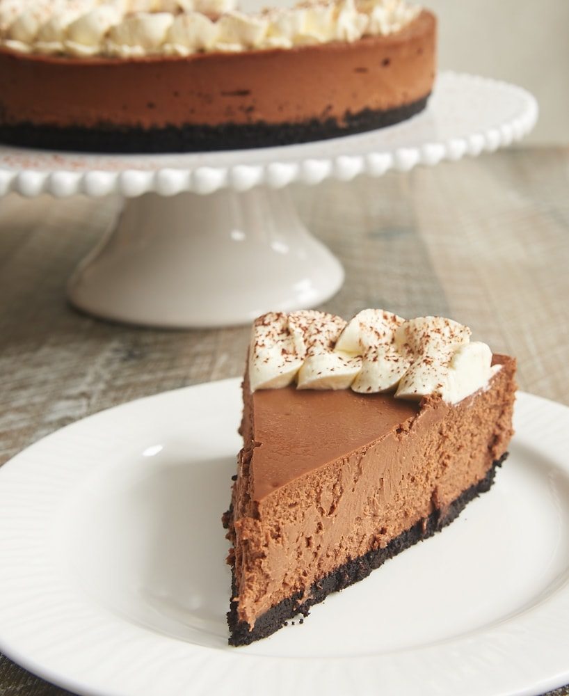 Chocolate Kahlua Cheesecake is a chocolate lover's dream! It's sweet, creamy, and not too rich. And it's utterly delicious! - Bake or Break