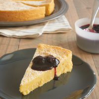 Almond Gâteau Breton topped with blueberry sauce