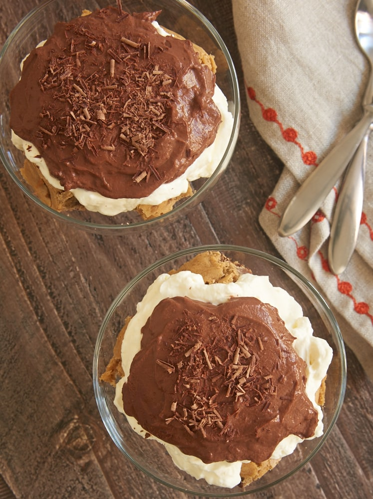 Blondie Pudding Trifles topped with chocolate shavings