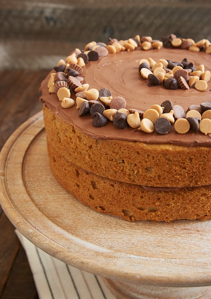 Fans of chocolate and peanut butter will be wowed by this beautiful, sweet, delicious Peanut Butter Cake with Chocolate Frosting! - Bake or Break
