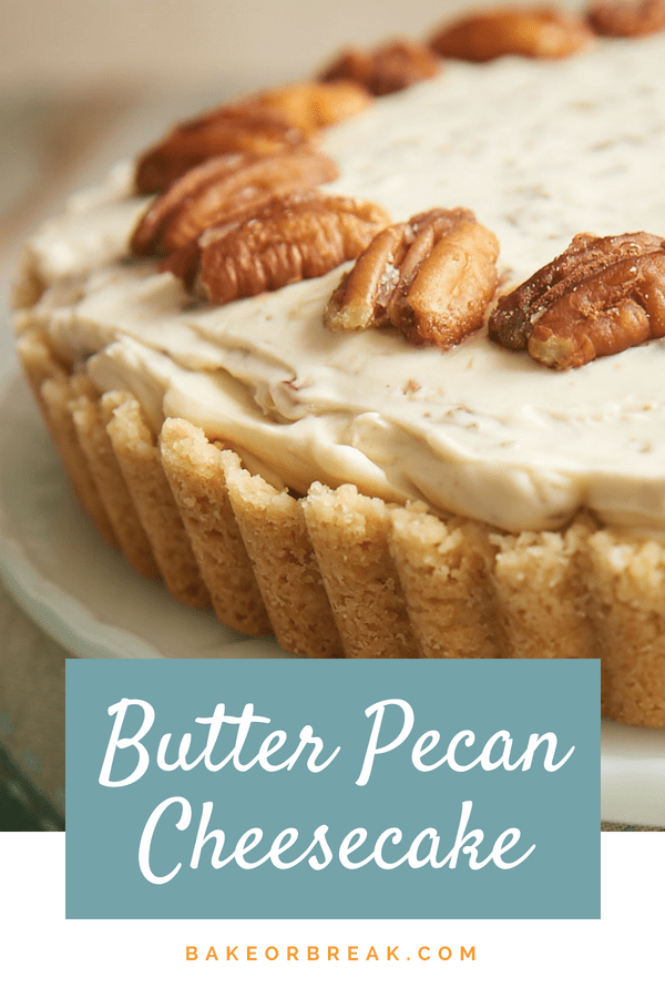 If butter pecan is your favorite ice cream, then this Butter Pecan Cheesecake may very well be your favorite cheesecake! It's filled with buttery, toasty pecans, and it's absolutely fantastic! - Bake or Break #pecans #butterpecan #cheesecake