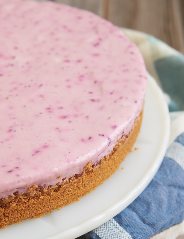 Blended berries lend gorgeous color and amazing flavor to this quick and easy Triple Berry No-Bake Cheesecake! - Bake or Break