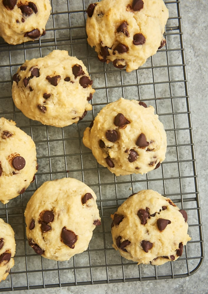 Chocolate Chip Drop Biscuits on a cooling rack
