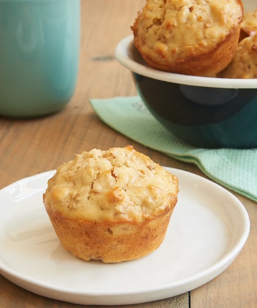 Coconut Cream Cheese Oat Muffin on a white plate