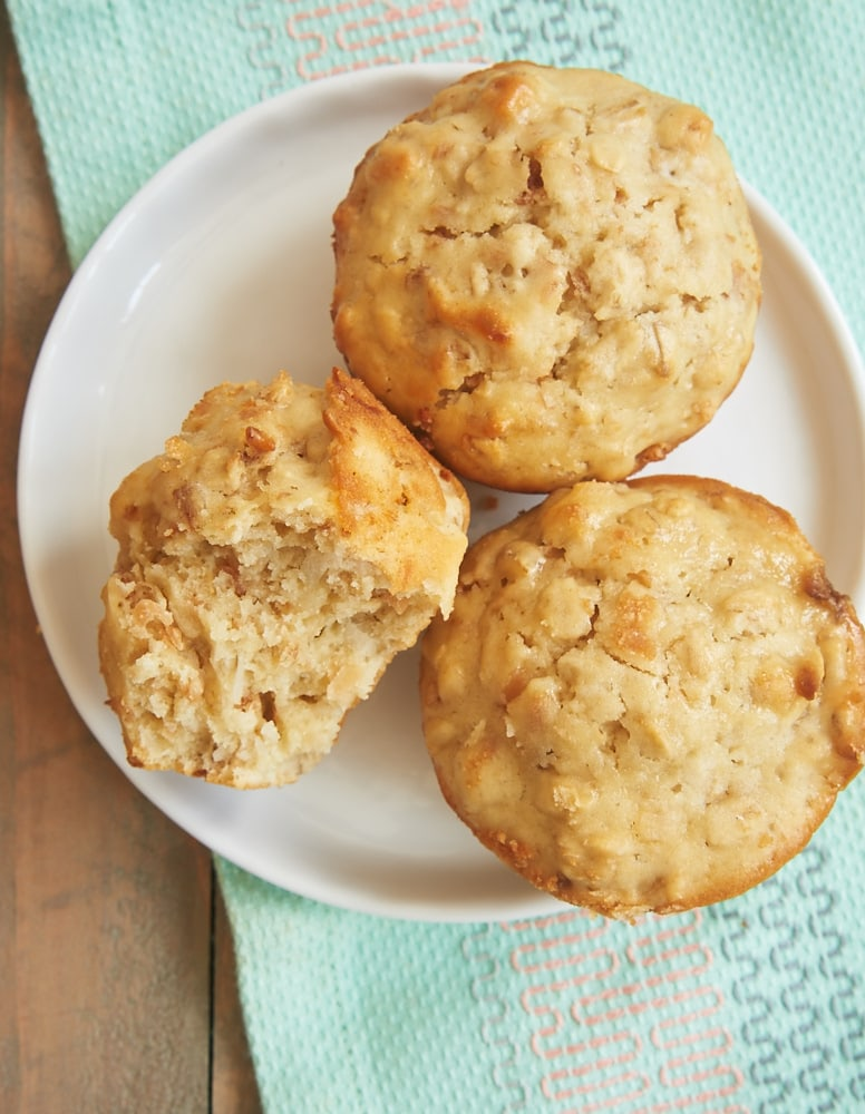 Coconut Cream Cheese Oat Muffins served on a white plate
