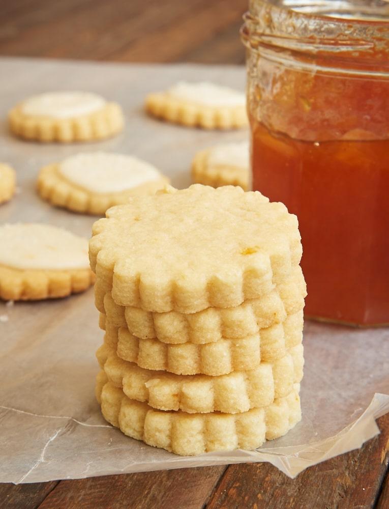 Peach Shortbread Cookies made with peach preserves