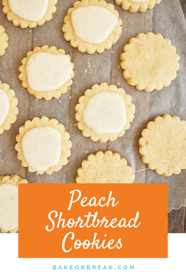 Peach preserves add a fruity twist to traditional shortbread in these delightful Peach Shortbread Cookies. - Bake or Break #cookies #shortbread #peach