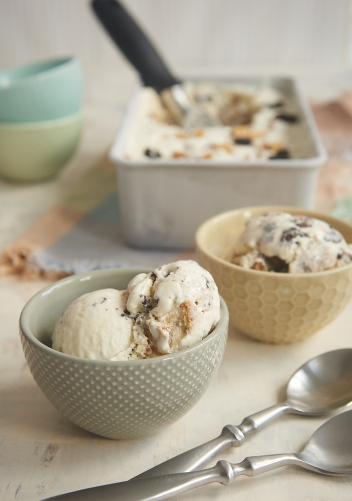 A combination of classic cookies add lots of fantastic flavor to All the Cookies No-Churn Ice Cream. Every bite is different! - Bake or Break