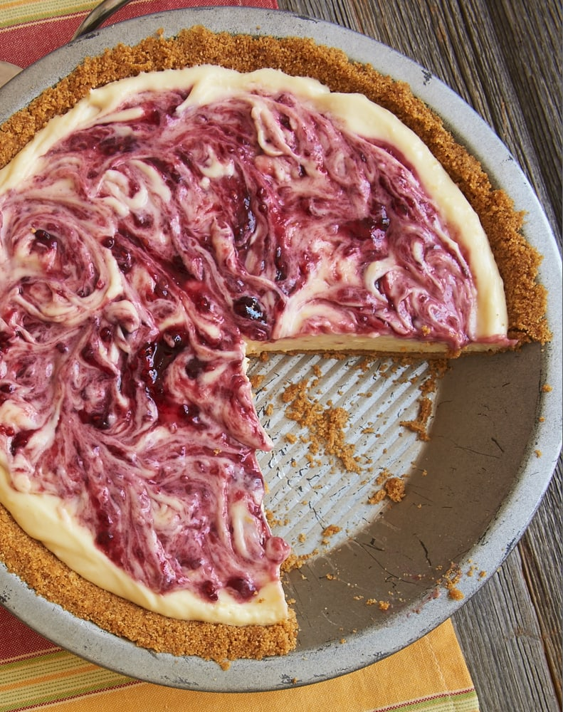 Raspberry Lemon Icebox Pie in a metal pie plate
