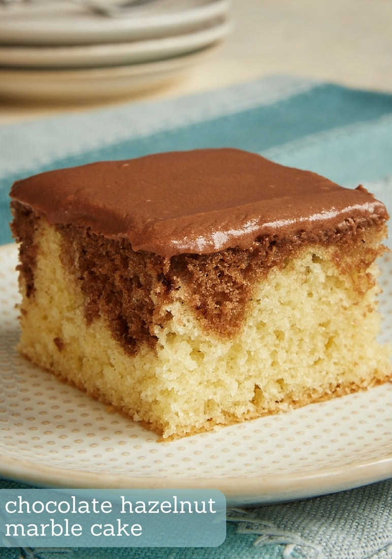 Chocolate Hazelnut Marble Cake combines a delicious yellow cake with a rich chocolate-hazelnut cake for a beautiful, irresistible dessert. If you are a Nutella fan, you will love this cake! - Bake or Break