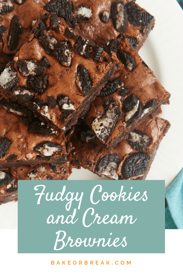 Fudgy Cookies and Cream Brownies bakeorbreak.com