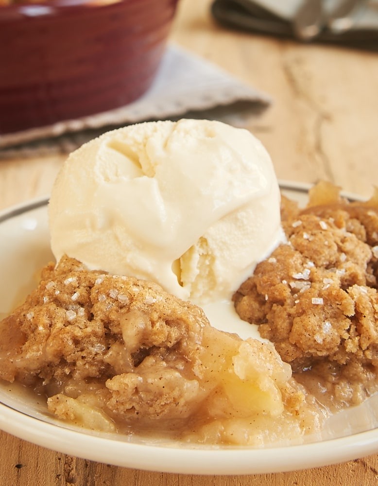 Autumn Spice Pear Cobbler topped with ice cream