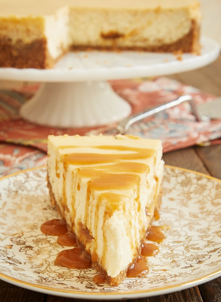 You'll love the fantastic flavor of this Bourbon Caramel Swirl Cheesecake. The combination of rich caramel and buttery, spicy bourbon are a perfect pair! - Bake or Break