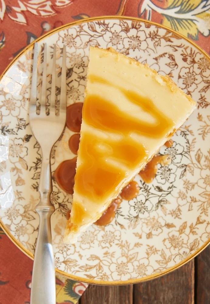Bourbon Caramel Swirl Cheesecake