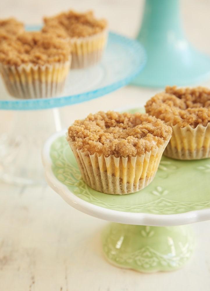 Mini Cinnamon Crumb Cheesecakes on a small green cake stand