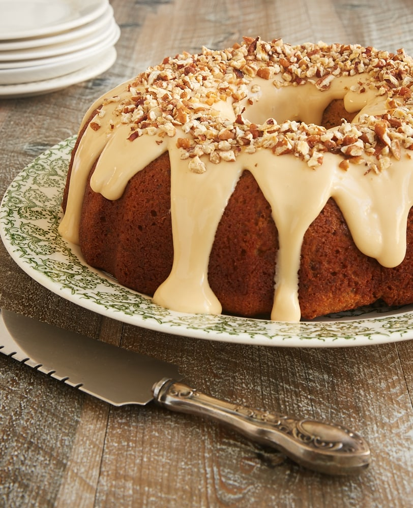 Toasted Pecan Bundt Cake With Caramel Cream Cheese Glaze