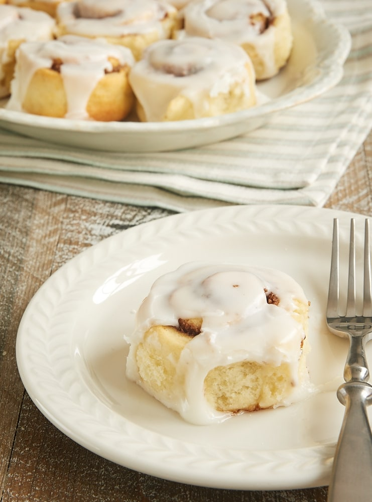 Biscuit Cinnamon Rolls on a white serving plate