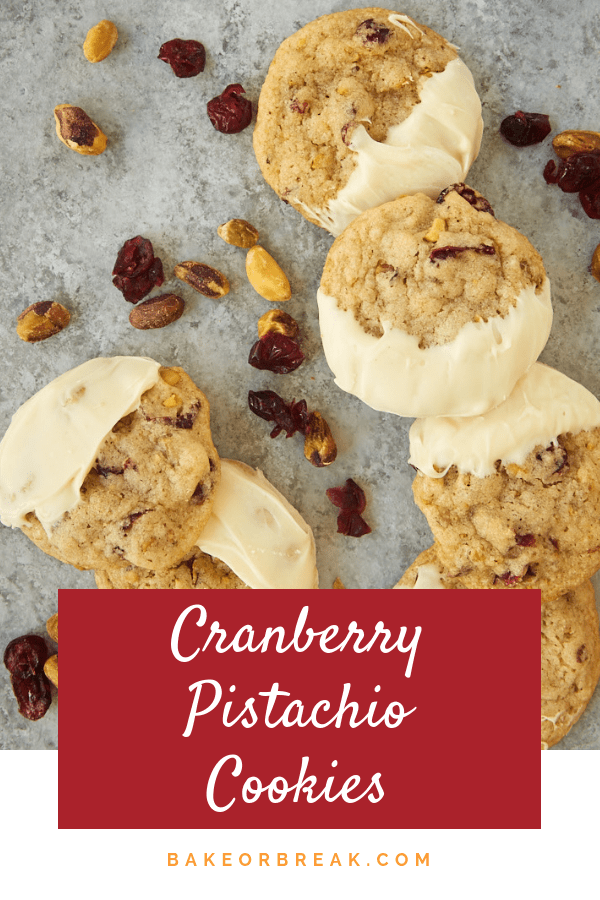 Cranberry Pistachio Cookies are jam-packed with plenty of sweet, tart cranberries and crunchy pistachios. The addition of white chocolate really puts them over the top! - Bake or Break #cookies #cranberries #pistachios