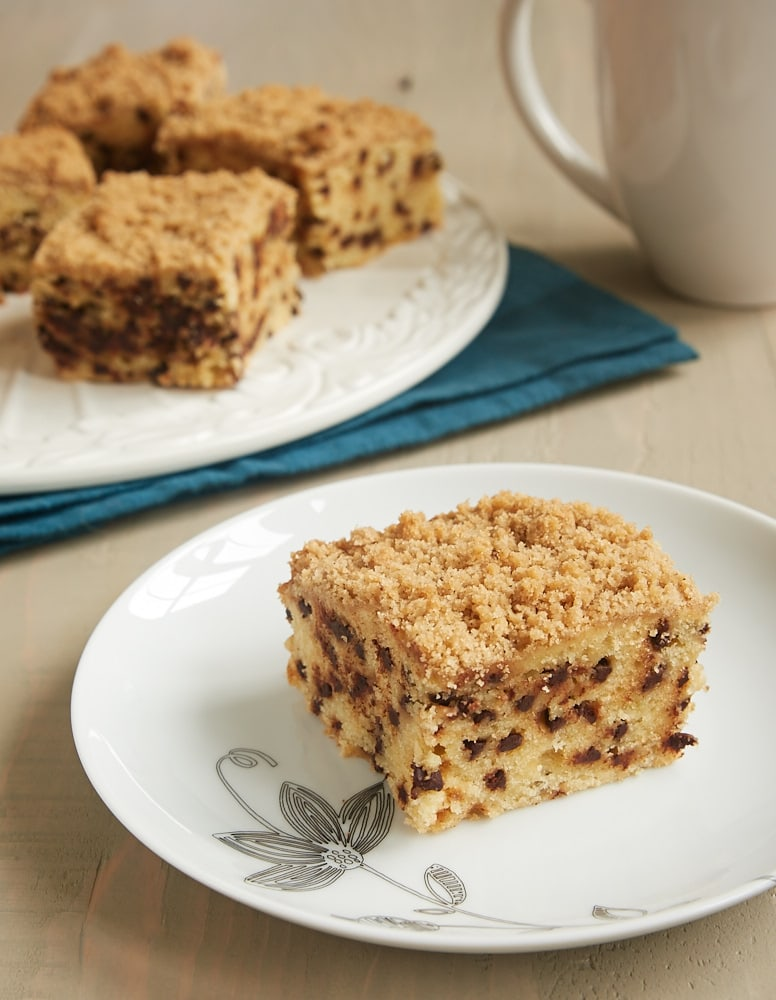 slice of Chocolate Chip Crumb Cake on a white plate