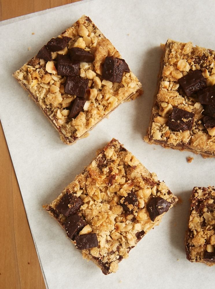 overhead view of Chocolate Hazelnut Oat Bars on parchment paper