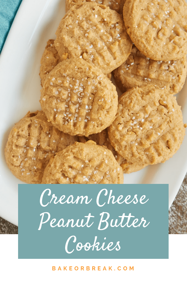 Cream cheese adds a lovely flavor and texture to these irresistible Cream Cheese Peanut Butter Cookies! - Bake or Break #cookies #peanutbutter #creamcheese