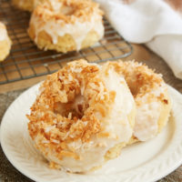 Toasted Coconut Cake Doughnuts served on a plate