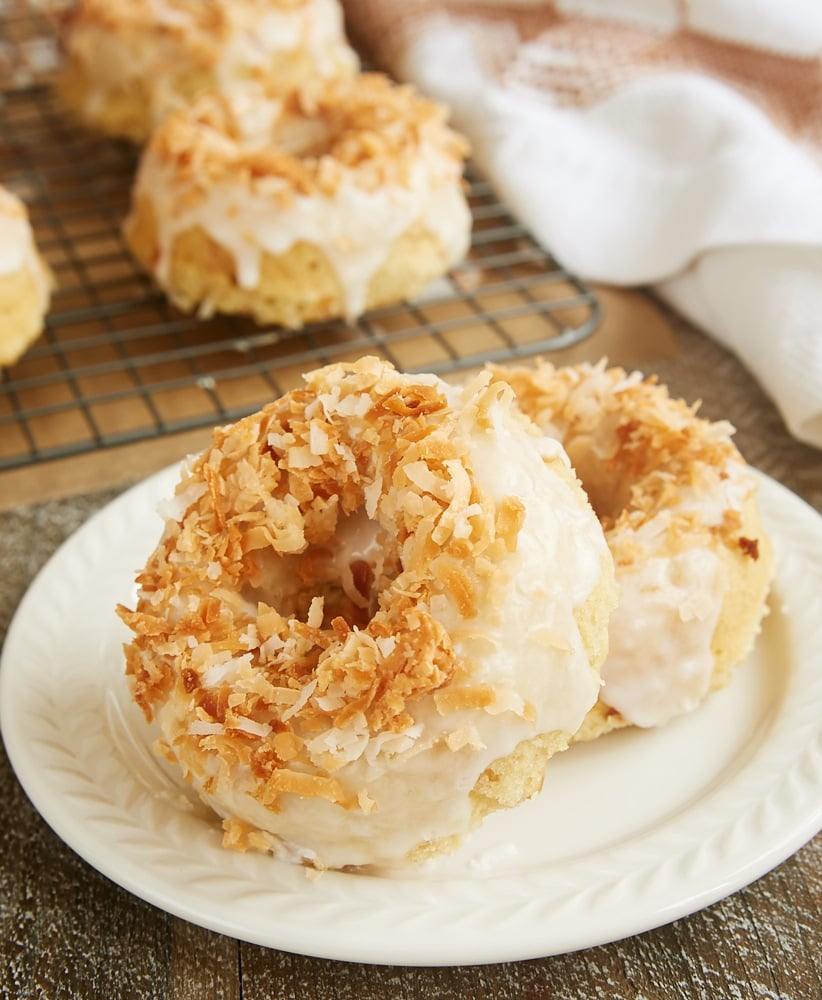 Toasted Coconut Cake Doughnuts topped with a sweet coconut glaze and toasted coconut