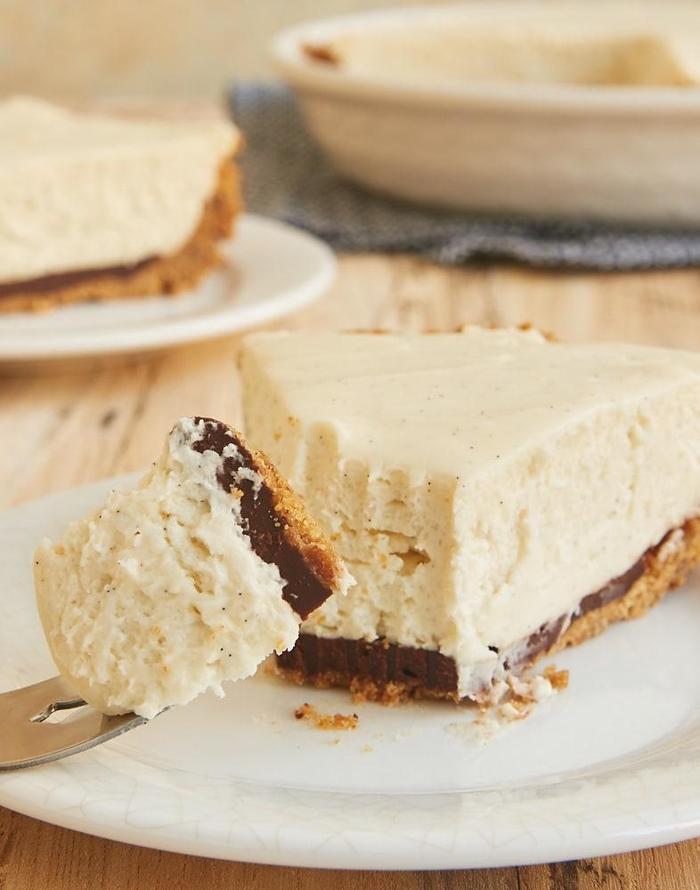 slice of No-Bake Black Bottom Vanilla Bean Cheesecake