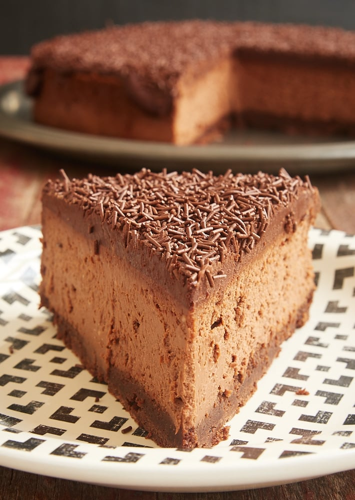 slice of Brownie Bottom Chocolate Cheesecake