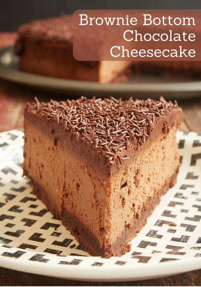 Brownie Bottom Chocolate Cheesecake is ALL about the chocolate. A brownie crust, a double chocolate cheesecake, and a chocolate ganache topping. Delicious! - Bake or Break