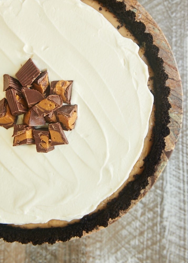 overhead view of Peanut Butter Pudding Pie on a brown marble pedestal