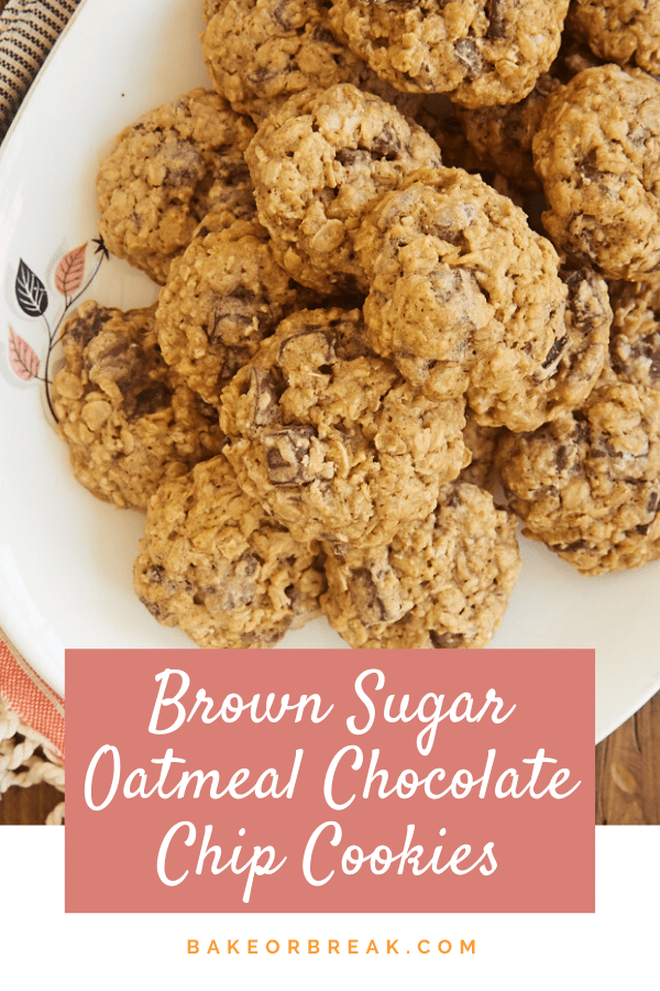 Brown Sugar Oatmeal Chocolate Chip Cookies are one of my favorite cookies. Two kinds of chocolate, all that sweet brown sugar, and those chewy oats make these perfectly soft, chewy, and delicious! - Bake or Break #cookies #oatmealcookies #chocolatechipcookies