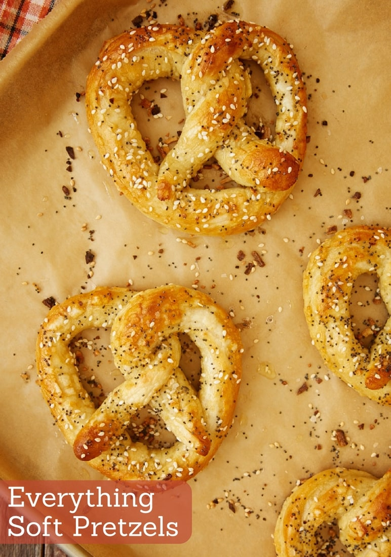 Buttery, chewy, flavorful Everything Soft Pretzels are so amazingly delicious. Bonus points for being simple to make, too! - Bake or Break