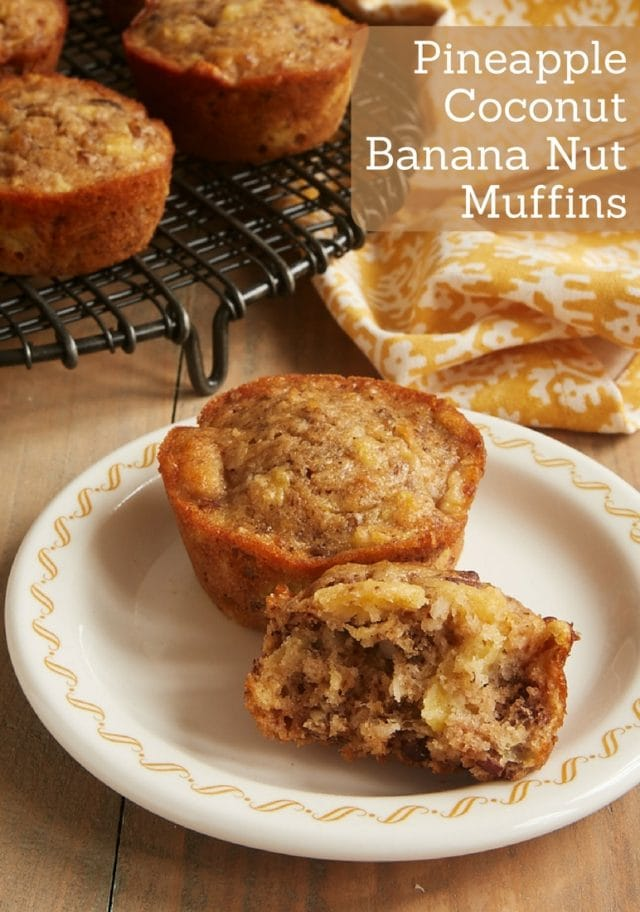 Pineapple Coconut Banana Nut Muffins are packed with so much amazing flavor. These muffins are perfectly sweet, moist, and delicious! - Bake or Break