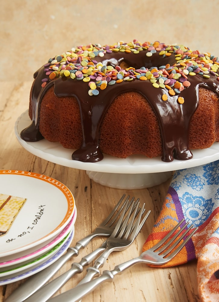 Yellow Bundt Cake with Dark Chocolate Ganache topped with sprinkles