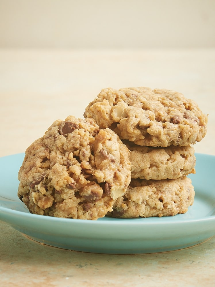 stack of Peanut Butter Toffee Oatmeal Cookies