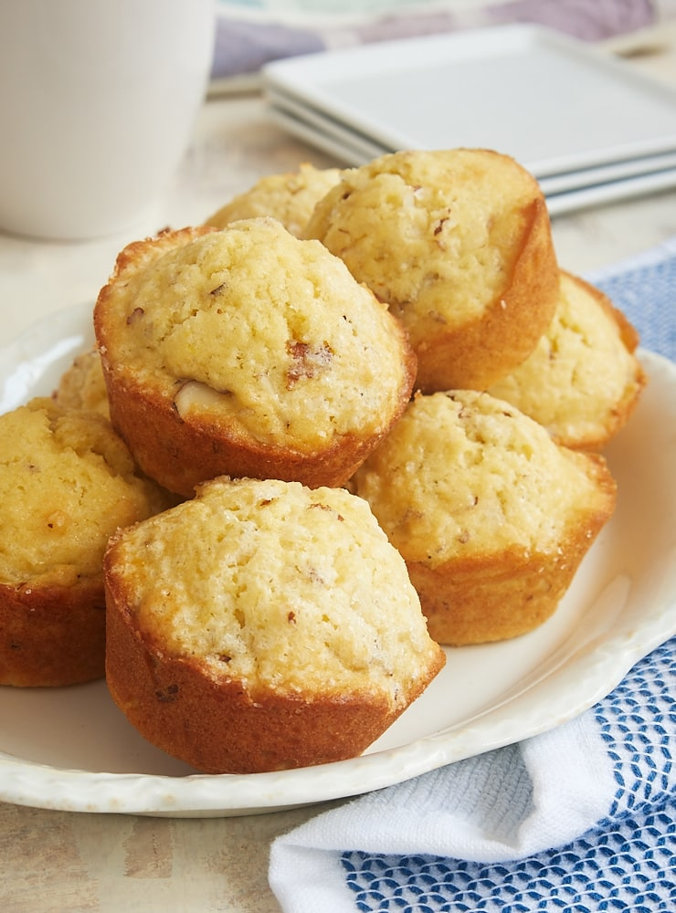 Coconut Almond Muffins on an oval white tray