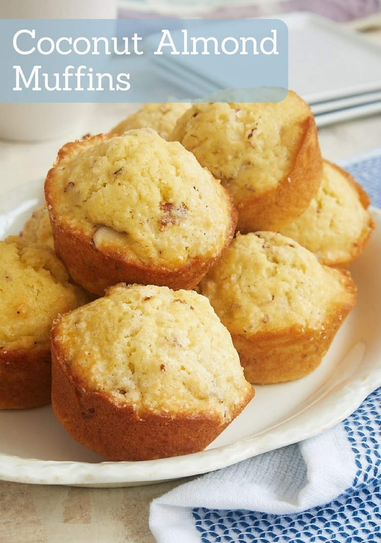 Coconut Almond Muffins combine wonderful flavors in a lightly sweet muffin. Perfect for a morning treat or an afternoon snack! - Bake or Break