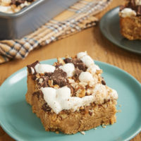 Rocky road takes a peanut butter detour in these sweet, nutty, fantastic Peanut Butter Rocky Road Bars! - Bake or Break