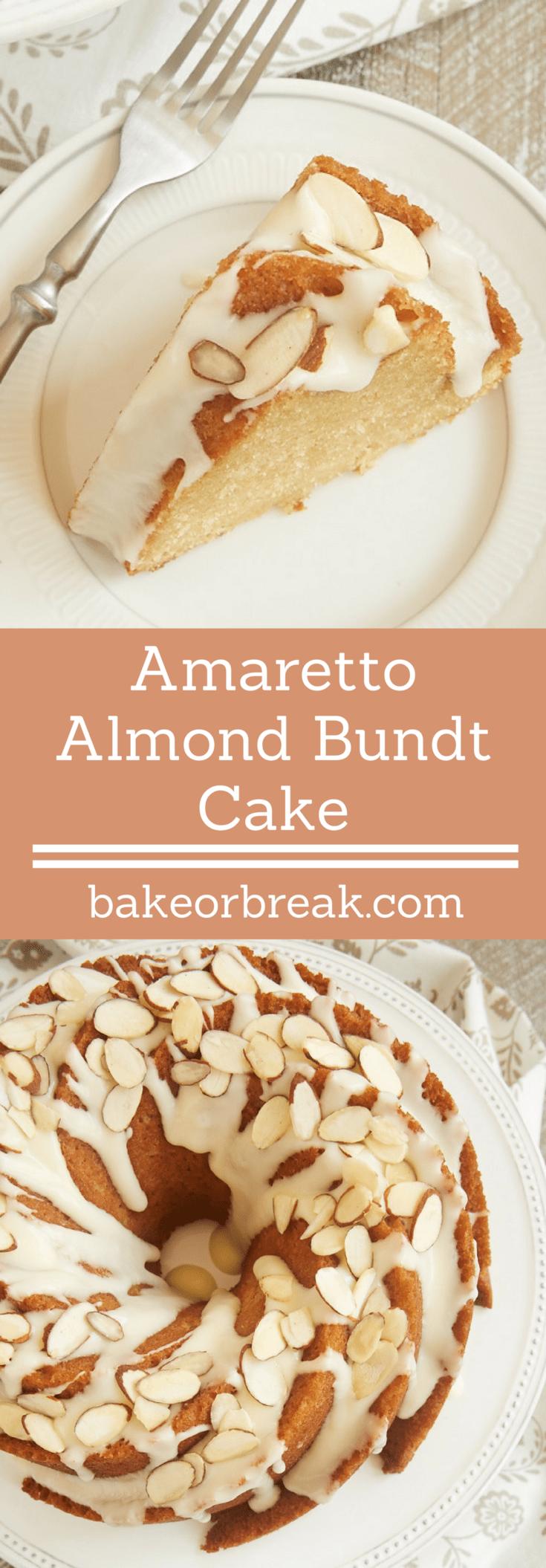 If you love almonds in a big way, you must try this fantastic Amaretto Almond Bundt Cake. Such a lovely, delicious cake! - Bake or Break #cake #bundtcake #almonds #amaretto