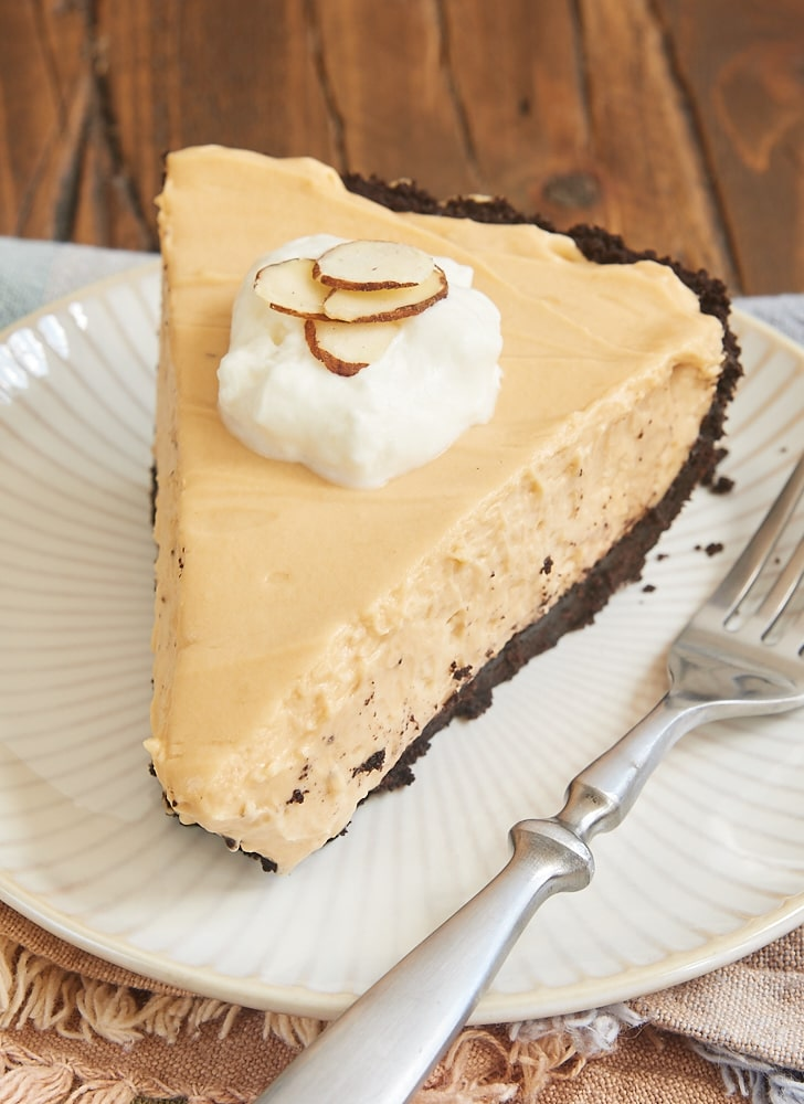 close up view of a slice of Dulce de Leche Icebox Pie